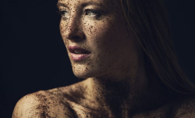 Close Up Art Portrait Young Dirty Unclean Woman